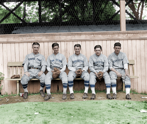 mydaguerreotypeboyfriend:  Five members of the Georgetown baseball team, 1928. (via Shorpy)