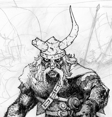 Abandoned Barbarian on Flickr.An abandoned sketch of a viking barbarian. I cropped out the parts that got out of hand. I still like his face, helmet and torso, tho.