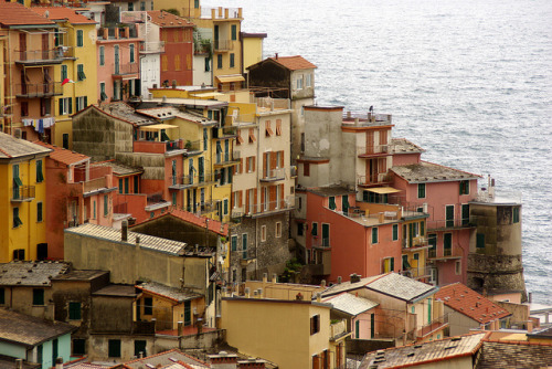 | ♕ |  Warm colors of Manarola - Cinque Terre, Italy  by © PierreG_09 | via ysvoice | cognacandcoffee