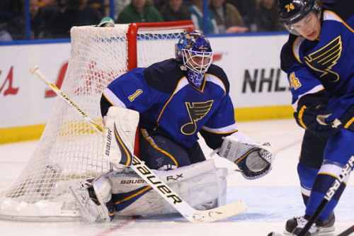 Brian Elliott #1 of the St. Louis Blues