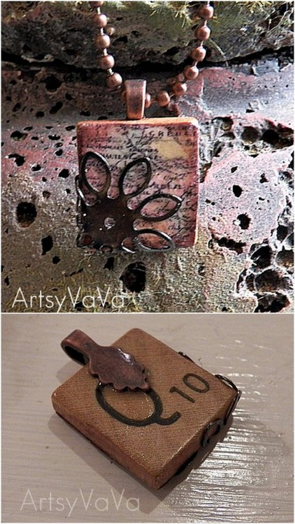 DIY Easy Scrabble Tile Pendant. This is one of my favorite jewelry posts here and I was amazed to find out it was a scrabble tile. So I was so happy to find this excellent tutorial from Artsy VaVa here.