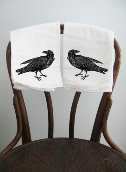 Gorgeous cotton towels featuring black ravens; just $28. Available at http://www.goreydetails.net/