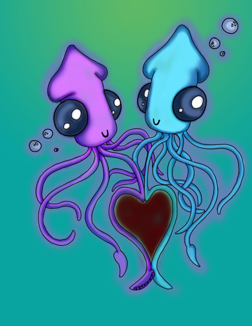 conceptartai:Squids in love:D My Art By: Brittany Gould