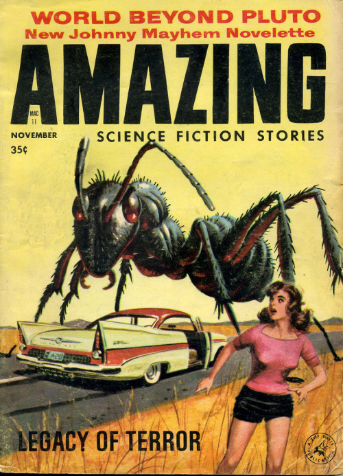 (by froggyboggler)  Amazing, November 1958. Cover art- Edward Valigursky.