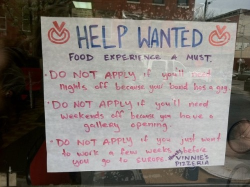 help wanted. not hipsters.