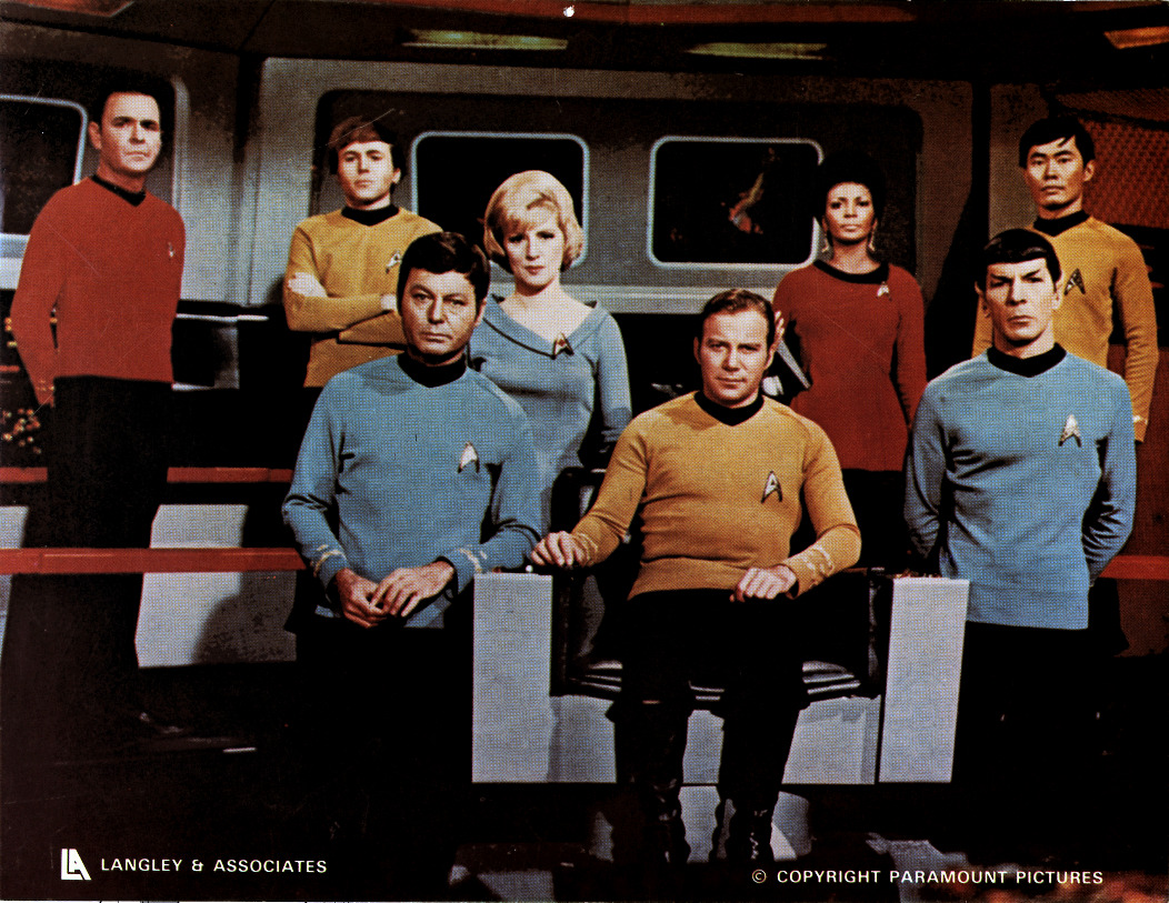 The rarest variant Original Series cast photo.  All the other versions of this one where taken from off to the right, with the cast looking ahead off into nothing.  This is the only one of them straight-on on the bridge. ((Like This?  Check Out My Archive and Follow Me!))