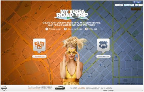 Plot your course online, hit the road and win the actual trip and a Versa to take on it - My Versa Road Trip. http://www.myversaroadtrip.com/ #online #digital #Marketing #advertisement