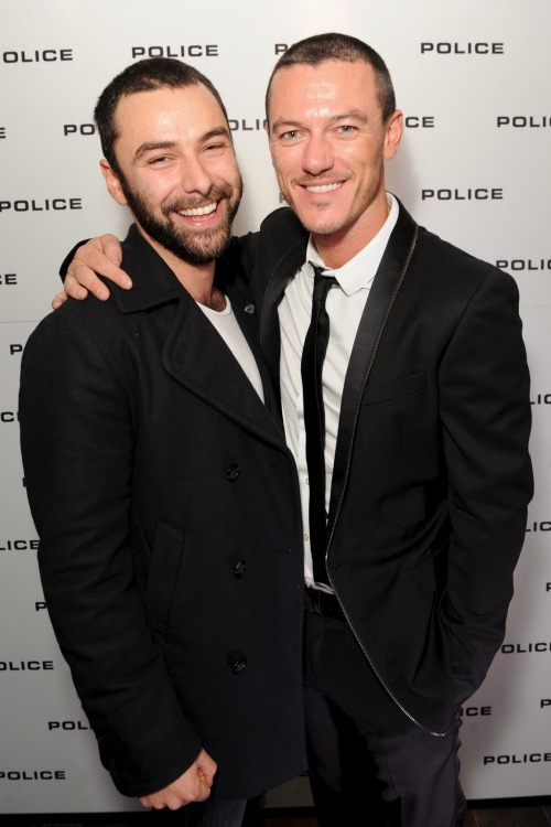 Aidan Turner w/ fellow 'Hobbit' co-star Luke Evans  Luke's Police Eyewear launch party in London on 24th Jan 2012.
