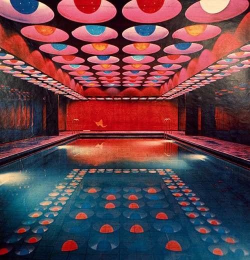 1960s modern pool room designed by Verneer Panton (via: shapenoid)