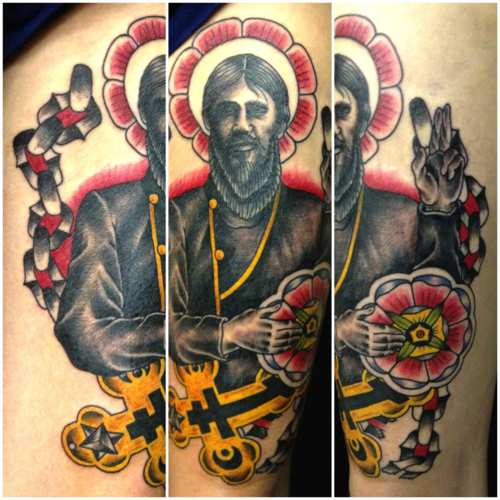 Got my Rasputin tattoo done yesterday by Matt 'Craven' Evans-One Shot Charlies- Stourbridge UK I love it so much, even if it was one of my more painful ones!! ME:xgator-smashx.tumblr.com
