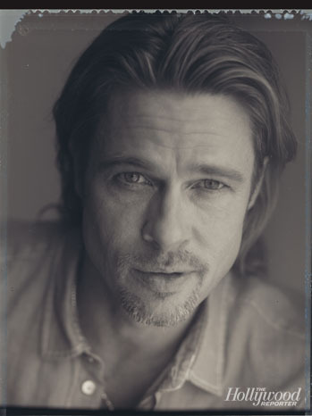 Brad Pitt in outtakes from his shoot for The Hollywood Reporter. Brad Pitt is a double Oscar nominee this year, earning nods for Best Actor (Moneyball) and Best Picture (Moneyball). He stands a chance of earning a third nomination for his work as producer on The Tree of Life, but that has yet to be determined. This year, Pitt will be seen in Cogan's Trade and World War Z.