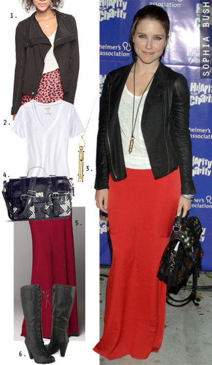 At a recent charity event, Sophia Bush donned a red maxi skirt paired with a simple white tee and black moto jacket.