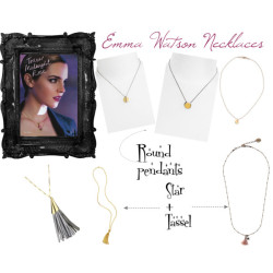 Emma Watson's Necklaces from Lancôme ad by gabrielle103 featuring sparkle jewelry I know this ad has been around like forever, but now I finally make a post about it. I absolutely adore the styling in this ad (the commercial is a bit dull though), especially the clever adjustment of the necklacements on Miss Watson with the intention to create layers. At last, I found some alternatives to recreate this style. A thin necklace along with a round pendant can do no wrong. And with a twist, star + tassel wrapping around your neck isn't too shabby:) P/S: the one with pink tassel is the exact necklace Emma is wearing in the ad fro Lancôme Tresor Midnight Rose, it's from Malababa in Spain.Elizabeth and James sparkle jewelry, $195Elizabeth and James chain jewelry, $175Nugaard Ipanema Silver Leather and Metal Tassel Necklace - designer…, $98rachelle celine Mini Disc Pearl Necklace, $48