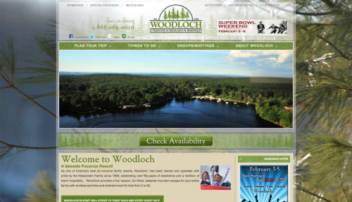 Here's a new website we've just complete for Woodloch.  You can visit and book online now at Woodloch.com