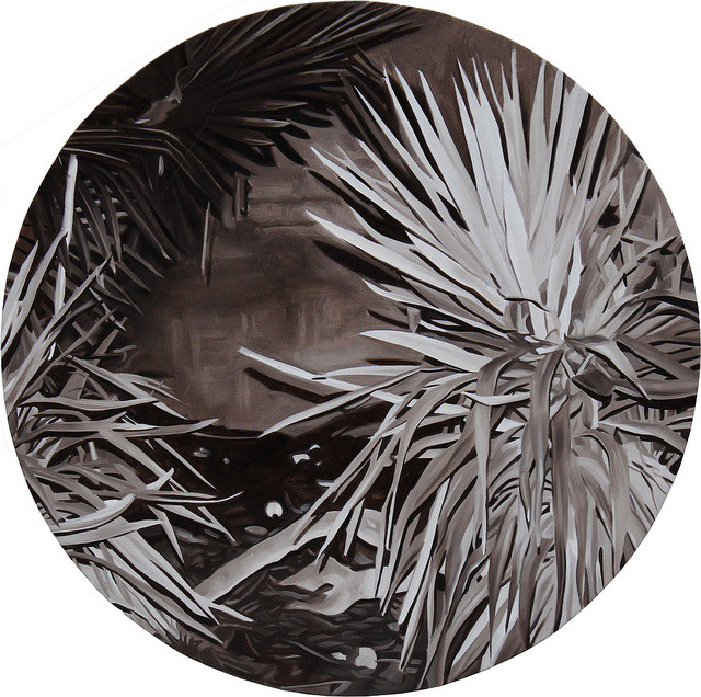 Untitled (agave), 2011, oil on canvas, Ø 80 cm.