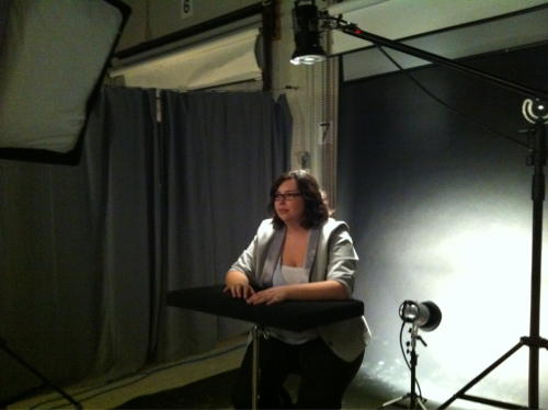 Working in the studio doing business portraits.