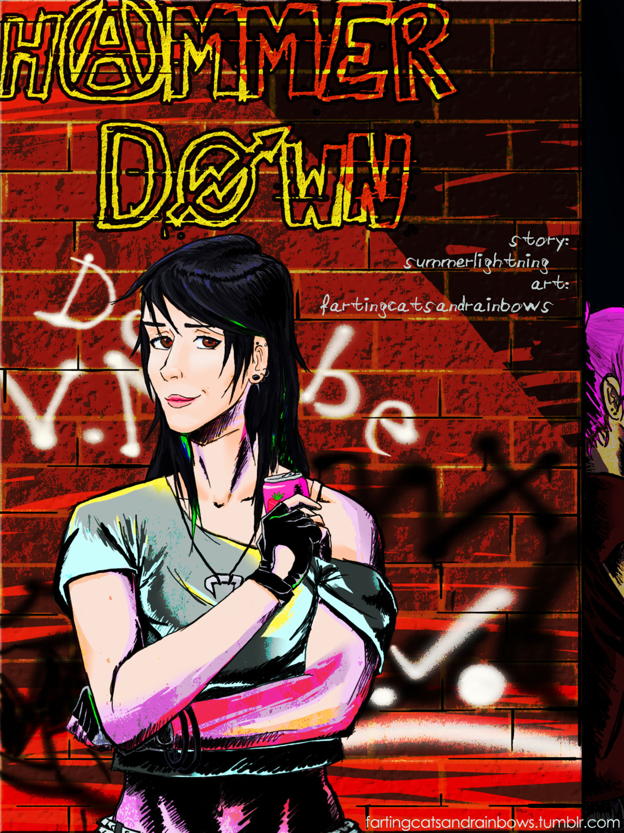 "Cover of ""Hammer Down"", the Marceline x PB real world AU comic collab with summerlightning. Basically, Marceline is a rising rockstar and Bubblegum (Bonni) is a sweet little dedicated fan with one not-exactly-innocent intention First page by the time the weekend is over, maybe? It looks like a rainbow pooped all over Marceline"