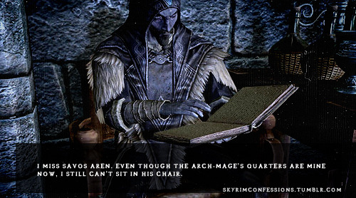 "skyrimconfessions:  ""I miss Savos Aren. Even though the Arch-Mage's Quarters are mine now, I still can't sit in his chair."" http://skyrimconfessions.tumblr.com"