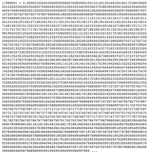jtotheizzoe:  Mind-Melter of the Day It turns out that if you divide 1 by 998,001 you get all three-digit numbers from 000 to 999 in order. Except for 998. (via Futility Closet)