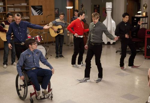 "GLEE: The glee club boys perform a Spanish song in ""The Spanish Teacher"" episode of GLEE airing Tuesday, Feb. 7 (8:00-9:00 PM ET/PT) on FOX. Pictured L-R: Kevin McHale, Mark Salling, Chris Colfer, Chord Overstreet and Harry Shum Jr."