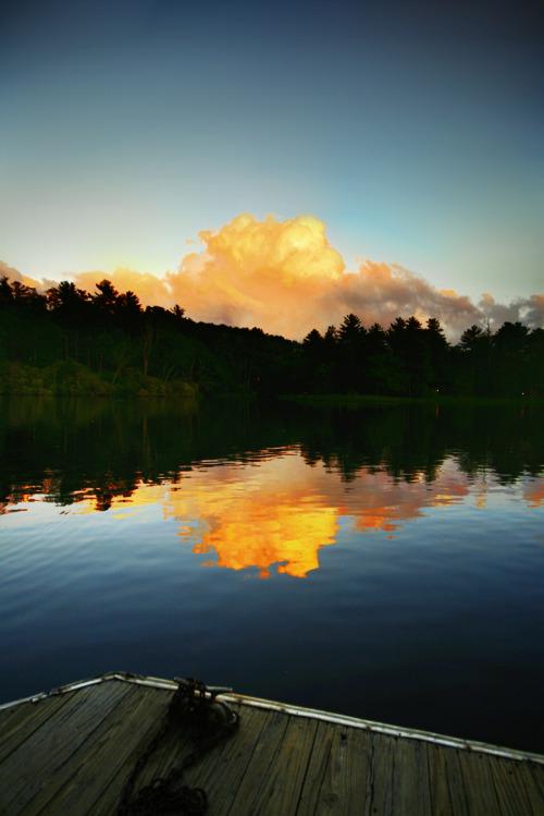cool blue orange clouds photography sunset lake Art