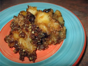 Delicious Pear Cobbler Cobbler: 6 large Bosc pears 1 tsp cinnamon 1/8 cup honey or agave nectar dash of sea salt Crumble Topping: 1 cup pecans 1 cup dates 2 dashes of cinnamon 1 tsp Vanilla Put 2 pears and the rest of cobbler ingredients in food processor, then pour into a glass casserole dish. Chop in bite size chucks the remaining 4 pears and add to the dish. Crumble the topping on top. Place in dehydrator at 105 degrees for 2 hours. I have yet to try this raw rendition of baked pears but my friend Joz assures me it's outstanding. Sure love the colors!