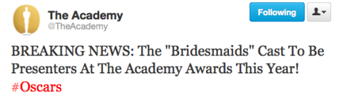 Academy announces the Bridesmaids cast as presenters at this year's Oscar ceremony.