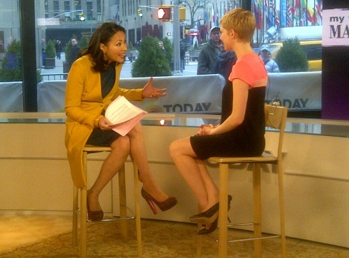The legs of Ann Curry and Michelle Williams on the Today Show