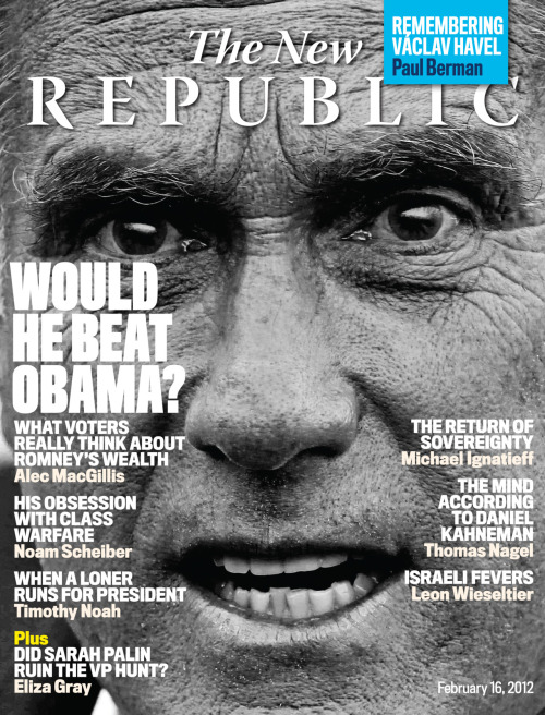 "The newest issue of The New Republic is out! In our cover story, ""The Guy Who Fires You,""  TNR  Senior Editor Alec MacGillis hits the campaign trail and reveals  what voters really think about Mitt Romney's wealth. For additional GOP campaign coverage read Noam Scheiber's ""The Inheritance,"" on why Romney's obsession with success envy is a family affair. Don't miss Timothy Noah's TRB column on what Obama and Romney have in common, special correspondent Charles Homans brilliant profile of Energy Secretary Steven Chu, and Paul Berman's tribute to Václav Havel. Be sure to check out TNR's Books and Arts section for detailed book reviews, including Thomas Nagel on Daniel Kahneman, Michael Ignatieff on the return of sovereignty, Leon Wieseltier on Jewish fevers, and more! Subscribe to TNR Society today and get 20 issues/year, access to our archives, and TNR events invitations for only $2.25/issue. Be sure to follow us too on Facebook and Twitter!"