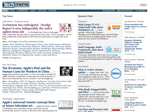 "TechMeme redesigns, scores headline of the day: ""Techmeme has redesigned. Drudge Report is now indisputably the web's ugliest news site."" We'll give them that; it's clean, but the font is not a good one for heavy news-reading."