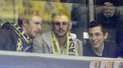 Gilad Shalit is out in public! He is at the Maccabi Tel Aviv-FC Barcelona basketball game.  Yalla Yalla Maccabi! (The one time you will hear me say this. Ever.)
