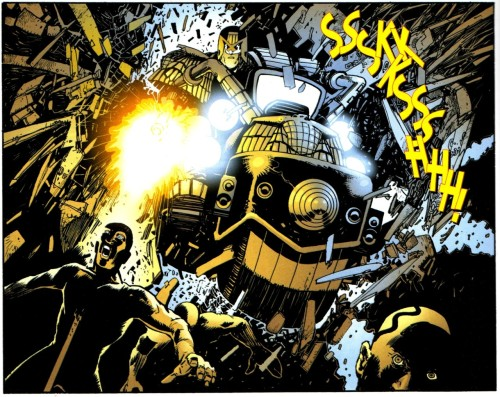 Judge Dredd - not a believer in using doors. From 'Streetfighting Man', Pt 2, Megazine 259.