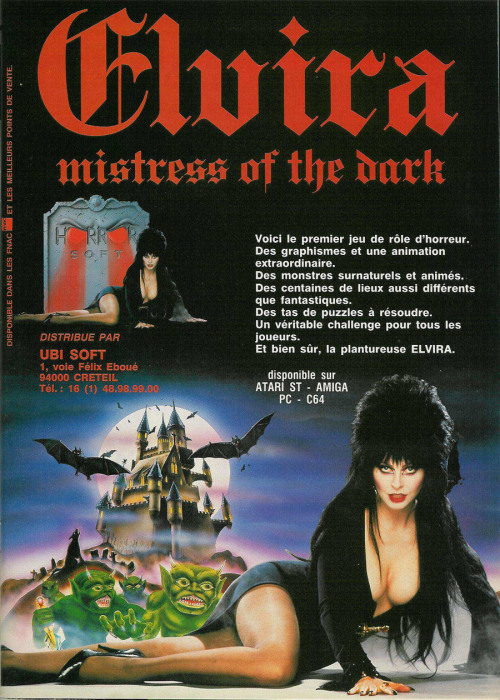 French Elvira: Mistress of the Dark Atari ST advert.