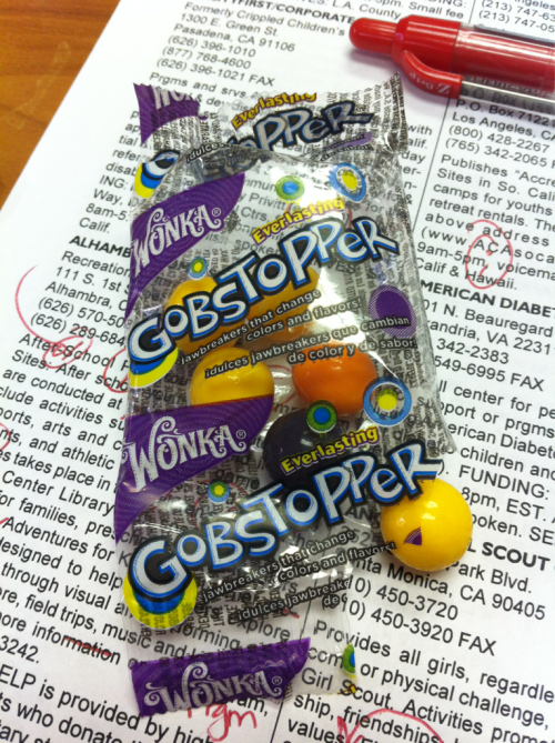 3 p.m. candy craving. These things rock! They take forever to eat and the whole package is only 60 calories.