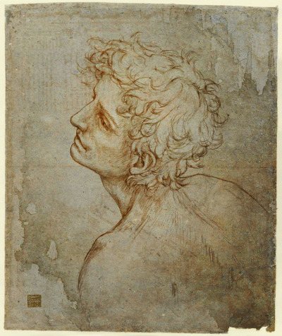 "leonardian:  The ""Fioravanti Folio"" Self Portrait(Master Copy - Reconstruction ) Having done the ""Adoration"" self-portrait, I thought doing this one would be a nice challenge, seeing as Leonardo only left a few lines to go by - wind-swept hair included. ΅˚΅ ""The greatest gifts are often seen, in the course of nature, rained by celestial influences on human creatures; and sometimes, in supernatural fashion, beauty, grace, and talent are united beyond measure in one single person…""  Giorgio Vasari""Lives of the Artists: Leonardo da Vinci"""