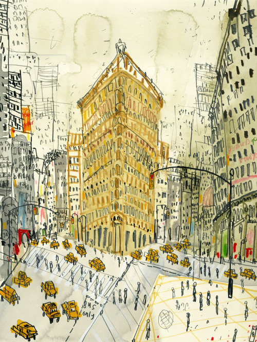 Clare Caulfield, Flatiron Building, New York (hand-painted screenprint)  For my money, the Flatiron is the most photogenic building in Manhattan.