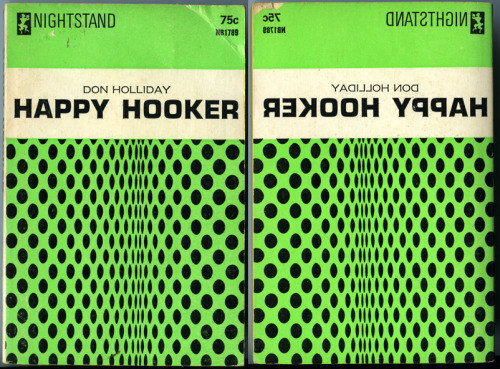 HAPPY HOOKER - Don Holliday Nightstand Books, 1966. Corinth Publications. Front and back covers of what was most likely a seriously budget crunched release.