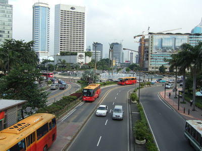 View of a busy intersection near the Hyatt in Jakarta