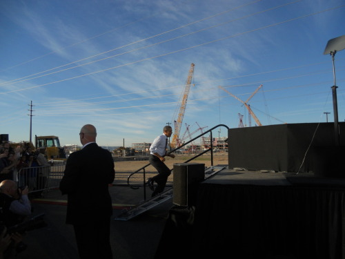 President Obama amid the giant cranes at Intel's state-of-the-art chip manufacturing plant under construction in Chandler, Arizona on January 26, 2012. A closer look at the enormous cranes that gave a lift to another cutting-edge Intel Fab in Hillsboro, Oregon.