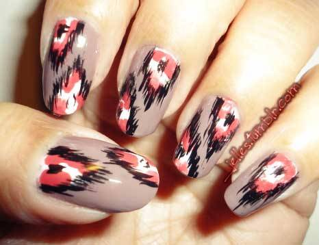 Ikat leopard in a hot color combo—LOVE it @jelles. Can you come do our nails? Pretty please? jelles:  Been awhile since I posted any nail work.  So why not try out the inspiration I got from my lovely girl Emily's (nailsbyveryemily) who was inspired by Mr. Candiipants with Ikat nails!  Colors used: Rimmel Steel Gray Confetti Afterparty Stripe Rite Black Sally Hansen Xtreme Wear White On