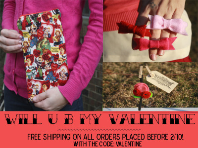 In the spirit of Valentine's Day, we're offering free shipping in our shop! http://www.etsy.com/shop/handmadeDS?ref=si_shop