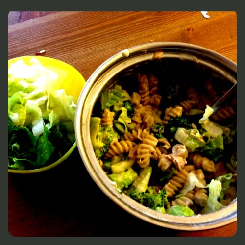 Early dinner: alfredo pasta with broccoli and tuna, with a side of lettuce. Fueling up for my run tonight.
