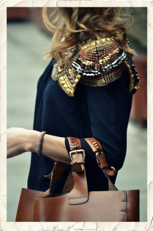 luckymag:  chic chic chic - jc  Sequins and Worn Leather. Love.