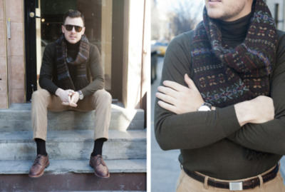 The Style Blogger -   Turtleneck sweater by Uniqlo. Tortoise aviator shades by Persol. Brown alligator belt and silver buckle by Ralph Lauren Purple Label. Corduroy trousers (part of suit) by Michael Andrews Bespoke. Chunky wingtip shoes by Florsheim. Scarf by Polo Ralph Lauren. Watch by Montblanc. Watch strap by Corvus.