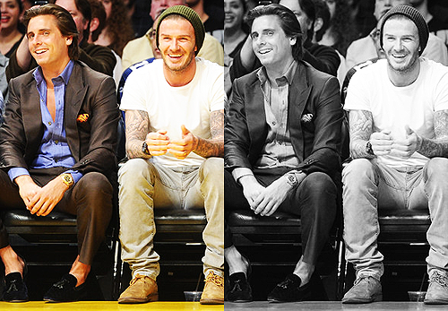 Scott sitting next to David Beckham at the Lakers/Clippers game.