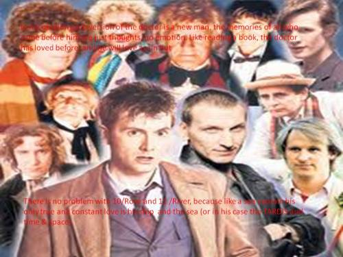 In my opinon each version of the Doctor is a new man, the memories of those who came before him are just thoughts, no emotion. Just like reading a book the Doctor as loved before and will love again. But there is no problem with 10/Rose and 11/River because like a sea captain his only true and constant love is his ship and the sea (the T.A.R.D.I.S.  and time & space).