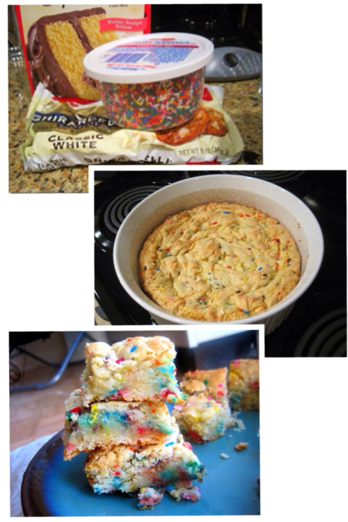 cake batter blondies.  ingredients:  1 box yellow cake mix 1/4 cup canola oil 1 egg 1/3 – 1/2 cup milk 1/4 cup rainbow sprinkles 1/2 cup white chocolate chips (optional)  directions: Combine the first four ingredients in a large bowl. Add the milk slowly – you want the batter to remain as dense as possible. Then mix in the rainbow sprinkles and white chocolate chips. Bake for 30 minutes at 350 degrees.  (I would personally add some sort of nut, preferably an almond or walnut).