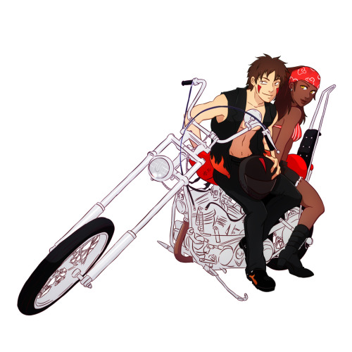 olehoncho:  A classic crack couple riding a classic custom chopper.- yes the bike is names Akamaru