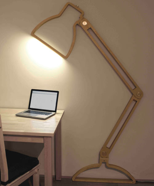 "brianafahey:  The Nepa Lamp is a two-dimensional ""lamp silhouette"" that stands six feet. It's wall-mounted and equipped with friction hinges to allow the piece to pivot away from the wall. (via Lamps by Giles Godwin-Brown 
