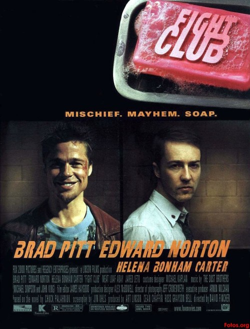 "fatdudedigsflicks:  69. FIGHT CLUB - 1999 (directed by David Fincher; written by Jim Uhls; based upon the novel by Chuck Palahniuk)  A ticking-time-bomb insomniac and a slippery soap salesman channel primal male aggression into a shocking new form of therapy. Their concept catches on, with underground ""fight clubs"" forming in every town, until an eccentric gets in the way and ignites an out-of-control spiral toward oblivion. Tyler Durden: Where'd you go, psycho boy? Narrator: I felt like destroying something beautiful."